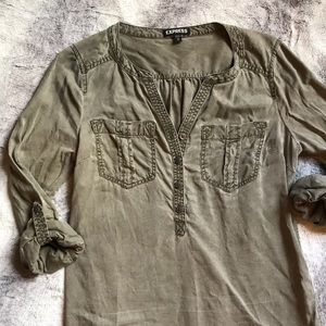 Express Military olive green tunic dress 👗